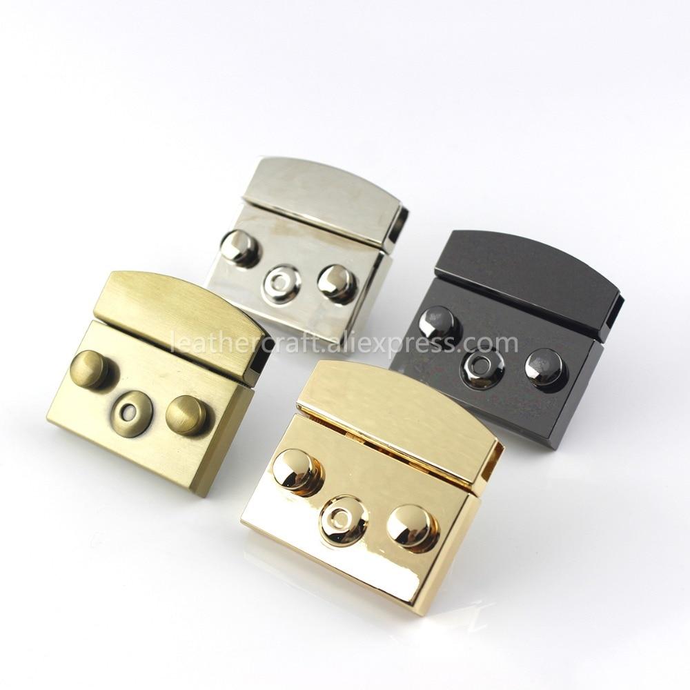 Rectangular Metal Press Push Lock Bag Briefcase Spring Lock Snap Decorative Clasps Closure Leather C