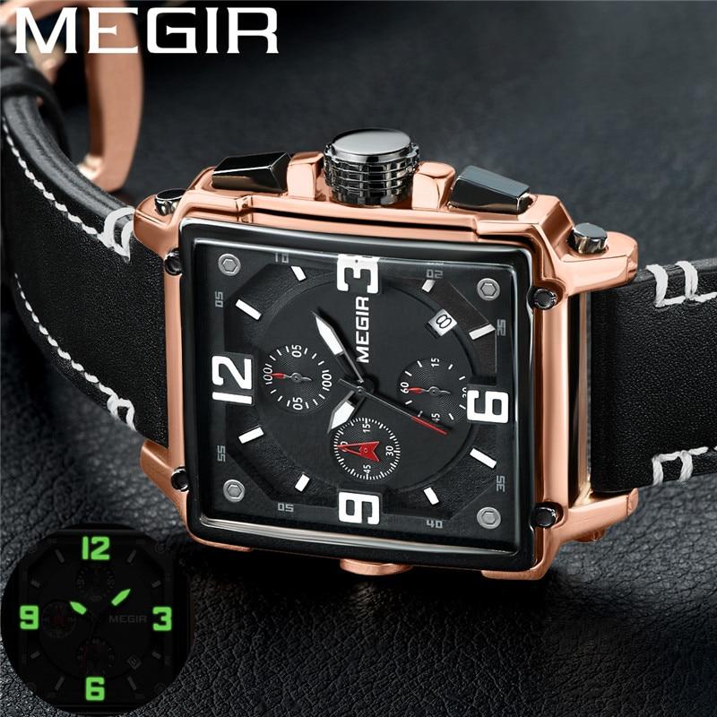 Reloj MEGIR para hombre, reloj de pulsera con cronógrafo dorado de lujo con fecha militar, pulsera deportiva de cuero para hombre, reloj Masculino 2061