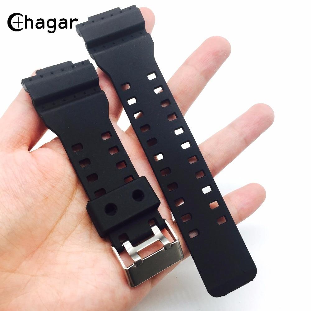 16mm preto silicone borracha esportes pulseira de relógio para casio ga100 ga110 g8900 gd100 masculino feminino à prova dwaterproof água pulseira de pulso