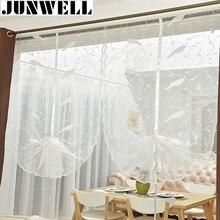 Junwell-rideau à oiseaux décoratif et ruban   Rideau romain, blanc, tissu cousu, Tulle, pour balcon, cuisine, fenêtre, store, 1 pièce