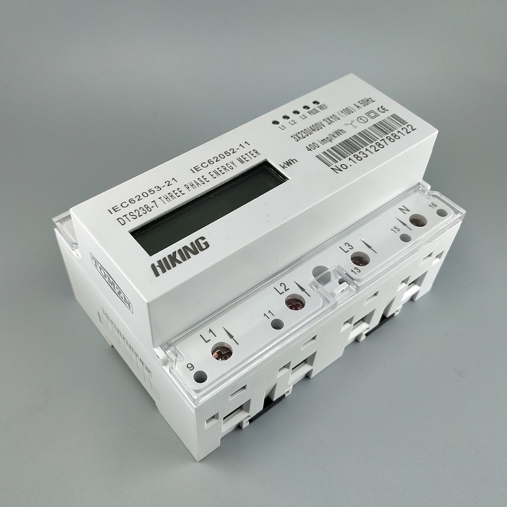 10 (100) A 3*230 فولت/400 فولت 50 هرتز ثلاث مراحل الدين السكك الحديدية كيلوواط واط ساعة الدين السكك الحديدية مقياس الطاقة LCD