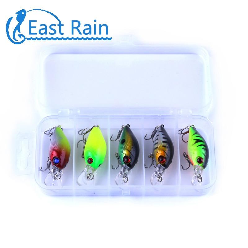 East Rain 5cm 5pcs Multi crankbait hard Bait tackle artificial lures swimbait fish japan wobbler fishing tackle Free shipping