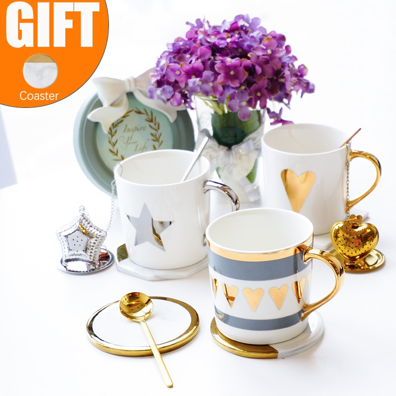 Creativo de oro de cerámica taza de porcelana taza de café porcelana de ceniza de hueso té de la leche taza de amor corazón de 350ML Cocina Vasos