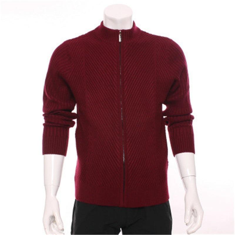 100% козья шерсть кашемир темно полосатый вязаный мужской модный умный Повседневный кардиган на молнии свитер добавить толстый красный 2 вид...