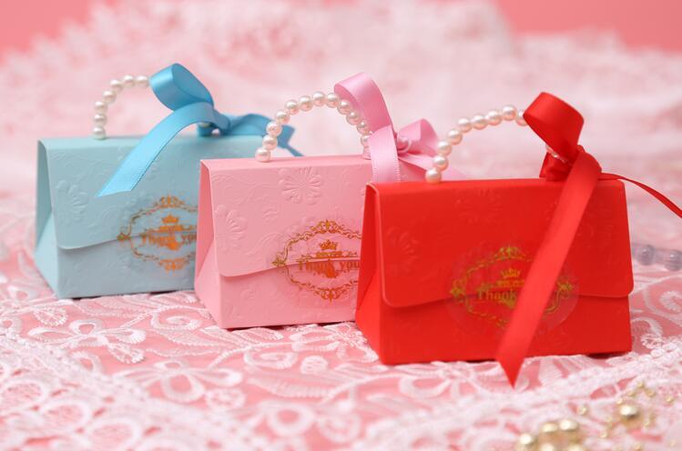 Creative Wedding Supplies Pearl Portable Gift Box Carton Birthday Party Baby Shown Favors Candy Box Bag Wrapping Supplies