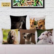 Новинка, наволочка серого цвета, декоративные подушки для дома, 18 дюймов, льняная наволочка 45x45 см, наволочка с милыми собаками, бесплатная доставка, QX-G1