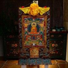 Fournitures bouddhistes   Grand ART bouddhiste tibétain, soie Sakyamuni neuf Buddhas thang-ga peinture de bouddha Thangka de haute qualité, vente en gros