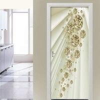 Door Mural 3D Abstract Space Golden Sphere Door Sticker Eco-friendly Door Home Decor Sticker Self-adhesive Wall Sticker Decals