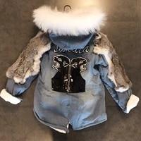 2019 real new arrival patchwork zipper thick winter women coat big fur collar hooded splicing rabbit back cartoon long cotton