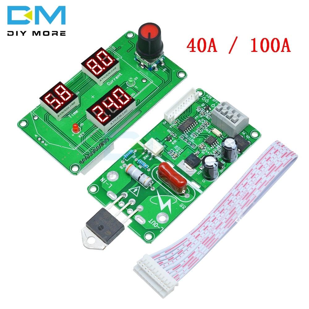 LED Digital Single Pulse Spot Welder Control Module Red 40A 100A Time Transformer Controller Diy Electronic Kit