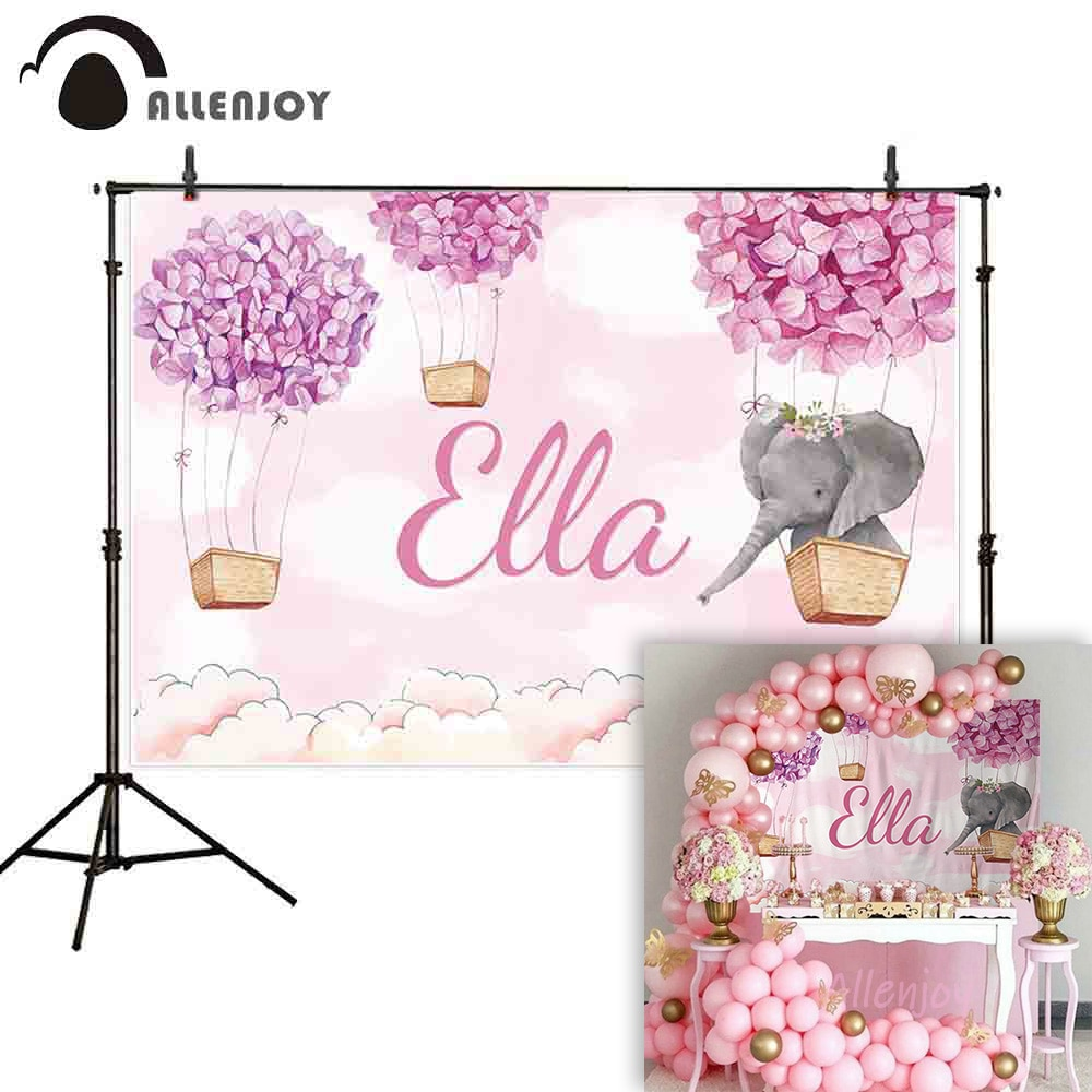 Allenjoy backgrounds for photography studio purple pink flowers hot air balloon cute elephant white clouds backdrop photobooth
