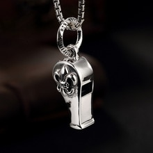 L&P New Fashion Handmade Cross Flower Whistle Pendant 925 Sterling Silver Pendant for Men Women Punk Style Jewelry