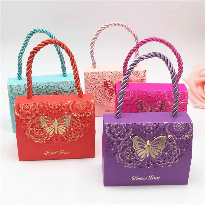 1 Uds. Por paquete caja de dulces hueca Popular europea, embalaje de belleza para evento de boda, fácil de llevar, bolsas con asa