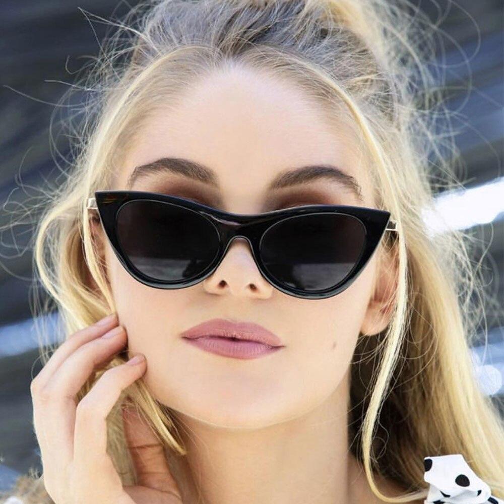 ¡Novedad de 2018! Gafas de sol modernas de Metal con forma de ojo de gato para mujer, Gafas de sol para hombre UV400 cóncavo con montura pequeña, Gafas de sol