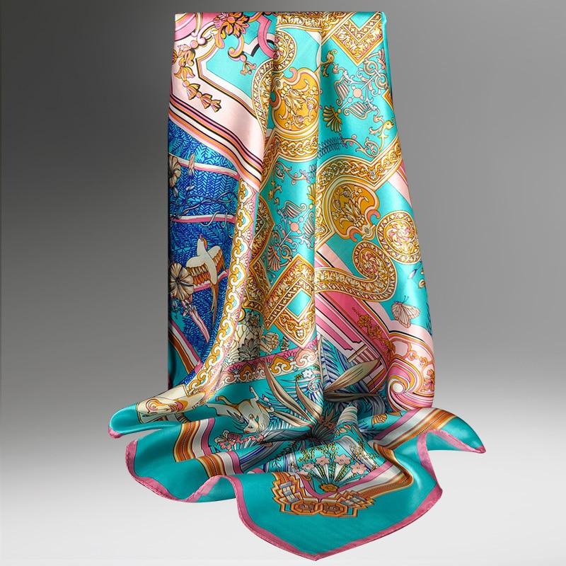 100% Silk Square Scarf Women Luxury Brand Headscarf Foulard Femme  Print Bandana Pure Neckerchief 90*90cm