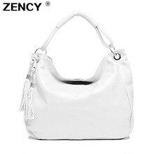 ZENCY 100% Genuine Cow Leather White Beige Women Handbag Female First Layer Cowhide Messenger Cross Body Long Handle Shouler Bag