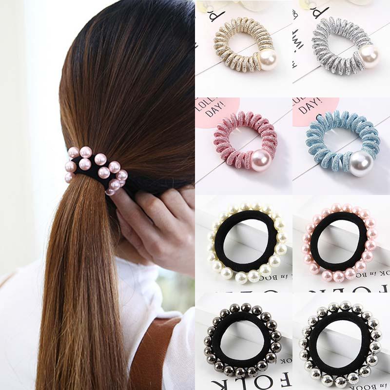Elástica bola imitación de perla cuerda de pelo línea telefónica anillos para corbatas de cristal tocado hecho a mano accesorios para el cabello