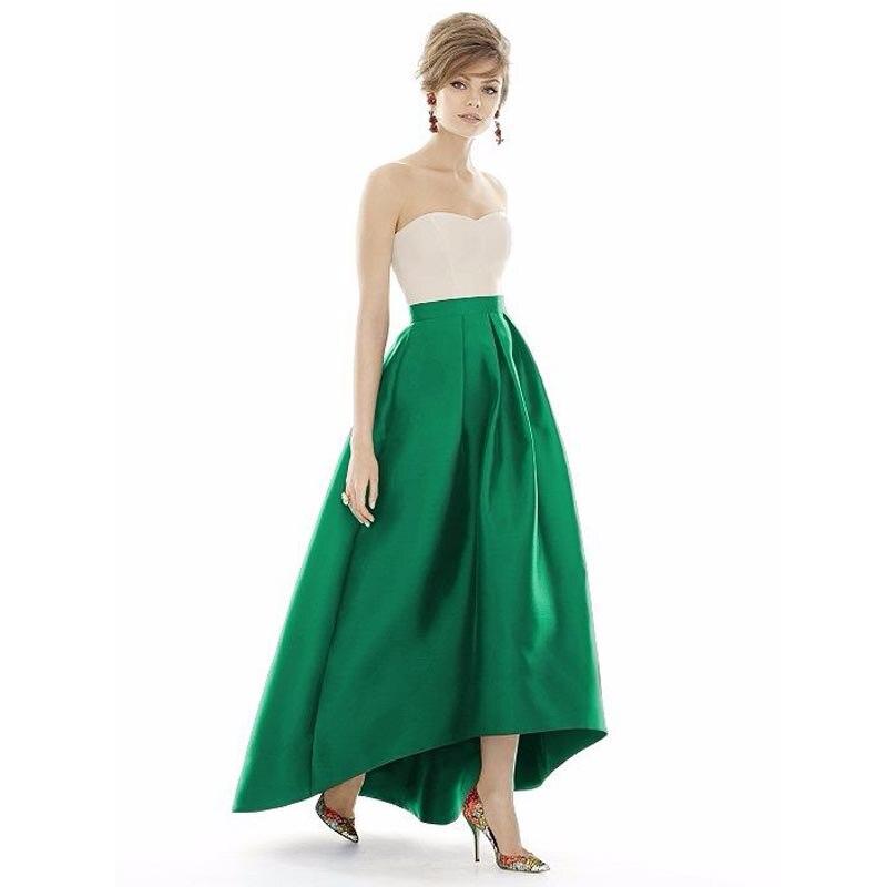 Falda larga de satén de Color verde esmeralda alta y baja de alta calidad hecho a medida largo Maxi falda 2016 con cremallera estilo Saia Longa