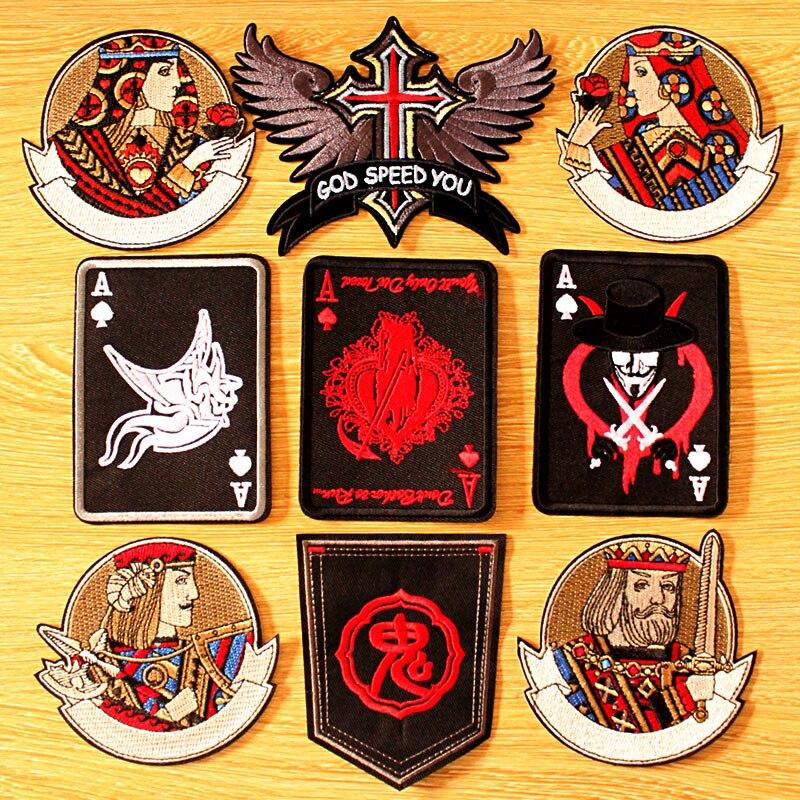Parche para ropa Punk de póker DIY, parches bordados para ropa, parches para planchar en la ropa, Parche de motorista, insignias de emperador negro