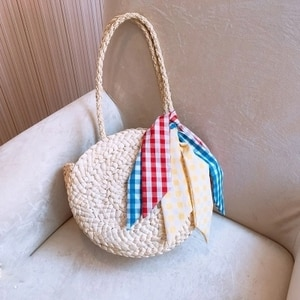 2018 Women Handmade Round Beach Shoulder Bag Bali Circle Straw Bags Summer Woven Rattan Handbags Women Messenger Bag Popular