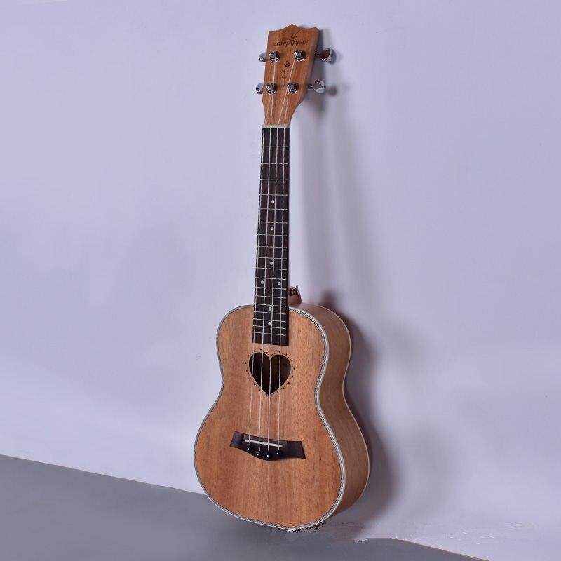 Гавайская гитара-укулеле Tenor, 23, 26 дюймов, 4 струны, в форме сердца, музыкальный инструмент из красного дерева