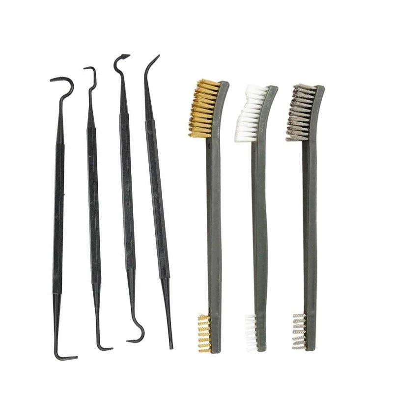 3 uds cepillo de alambre de acero + 4 Uds conjunto de selección de Nylon Kit Universal de limpieza de arma de caza herramienta de limpieza de pistola y Rifle táctico nuevo