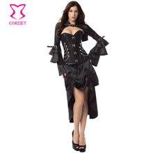 블랙 빅토리아 코르셋과 bustiers 스틸 뼈 steampunk 코르셋 드레스 섹시한 고딕 의류 여성 burlesque 드레스와 자켓