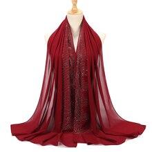 Diaomd-foulard ondulé en forme de bulle   Mousseline de soie, hijab, châle, perle, bandeau musulman, Hijabs, 2019 femmes