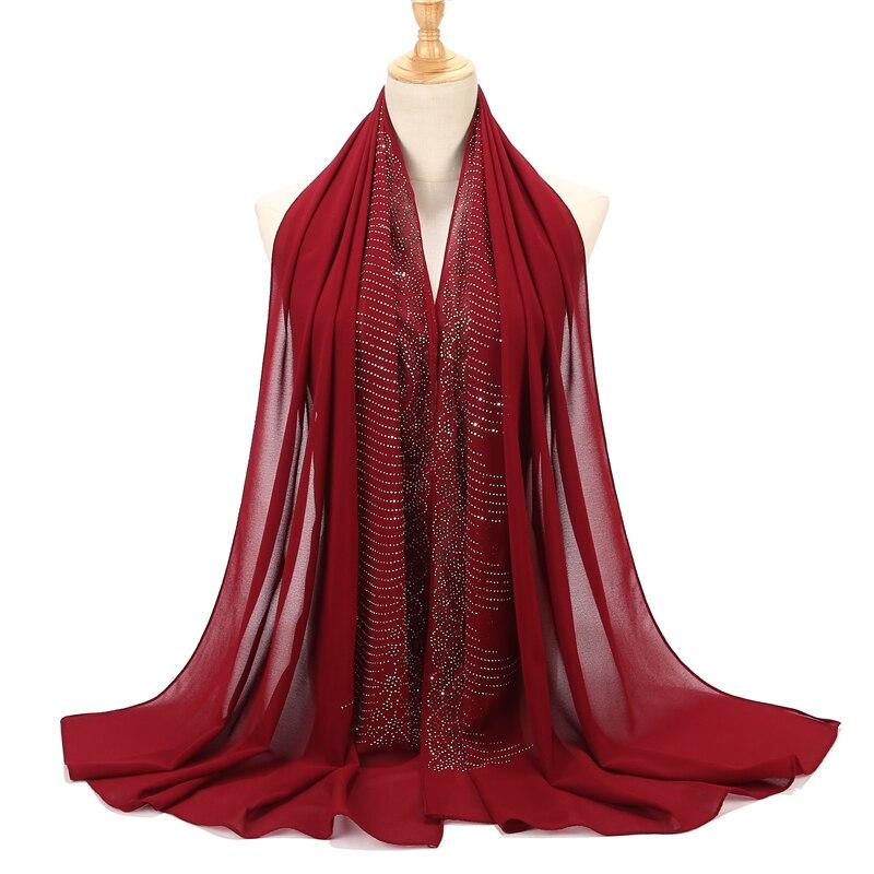 2019 feminino diaomd cachecol forma de onda simples bolha chiffom hijab cachecol xale grânulo envoltório bandana muçulmano hijabs