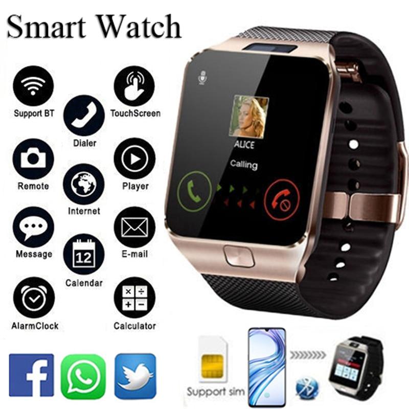 Relógio inteligente dz09 com bluetooth, smartwatch com rastreador de sono, relógio despertador, lembrete de mensagem, cartão sim e câmera, para android