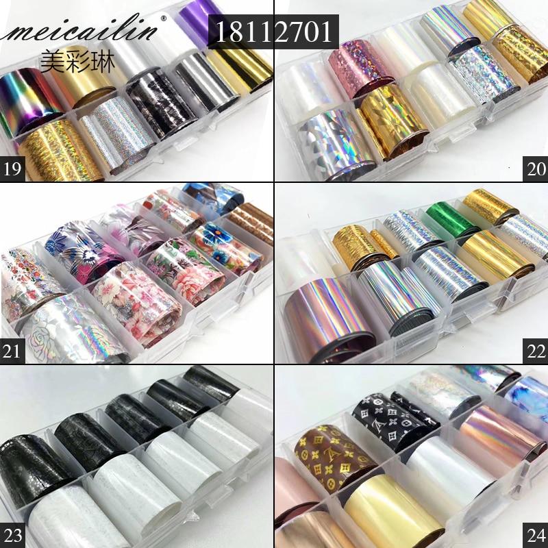 Голографические переводные наклейки для ногтей, 10 дизайнов/набор, 2,5*100 см, сделай сам, наклейки для дизайна ногтей, звездная бумага, металлический цвет, УФ-гель, наклейки