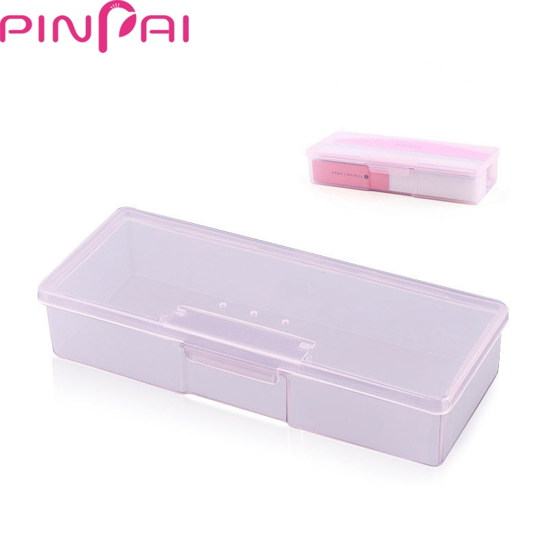 PinPai, caja de almacenamiento para manicura práctica, 1 ud., decoración de uñas y productos pequeños, contenedor de herramientas ABS, caja transparente rosa/blanca
