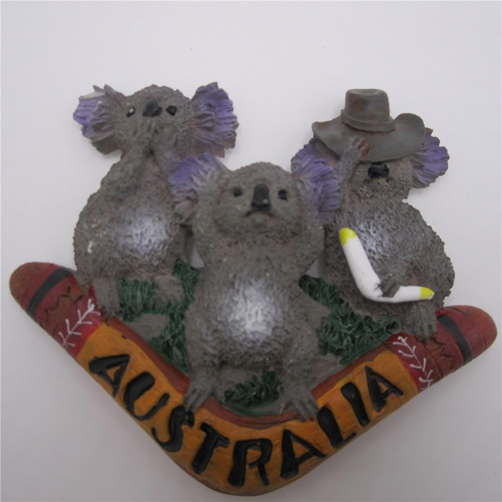 Hand-gemalt Kühlschrank Bord Magneten aufkleber Australischen Koalas Bumerang 3D Harz Hause Raum Dekoration Land Tourismus Souvenirs