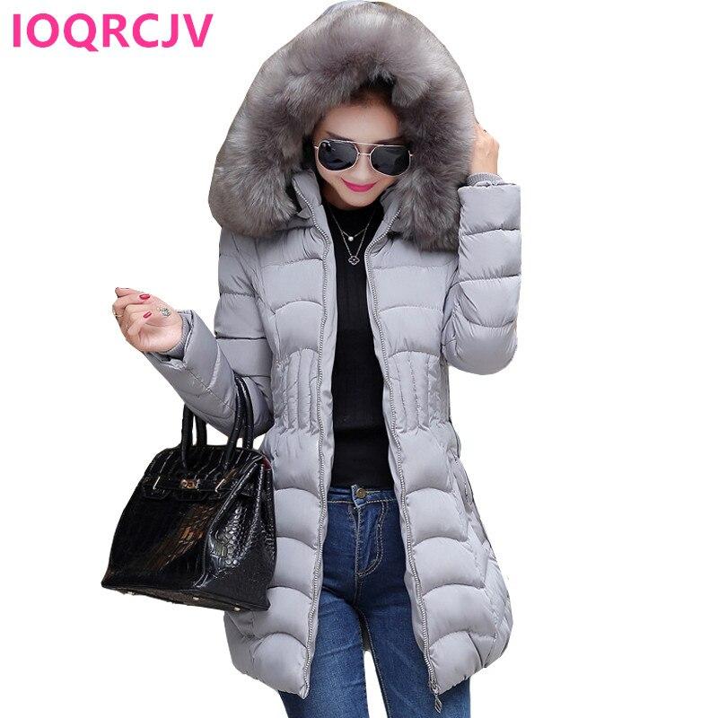 2021 Women Winter Hooded Warm Coat Slim Plus Size Big Fur Collar Parkas Cotton Padded Basic Jacket F