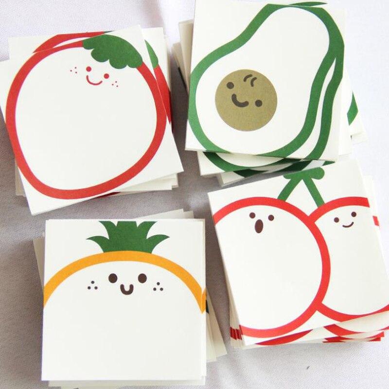 1 Uds. Cute cereza fresa aguacate melocotón Nota de papel almohadillas diario DIY Sticky planificador de notas Bloc de notas papelería material de oficina escolar