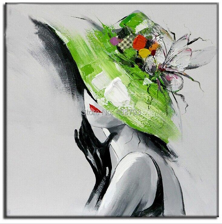 Pintado A mano moderno abstracto gran lienzo arte pintura al óleo sombrero grils un estilo pinturas sin marco