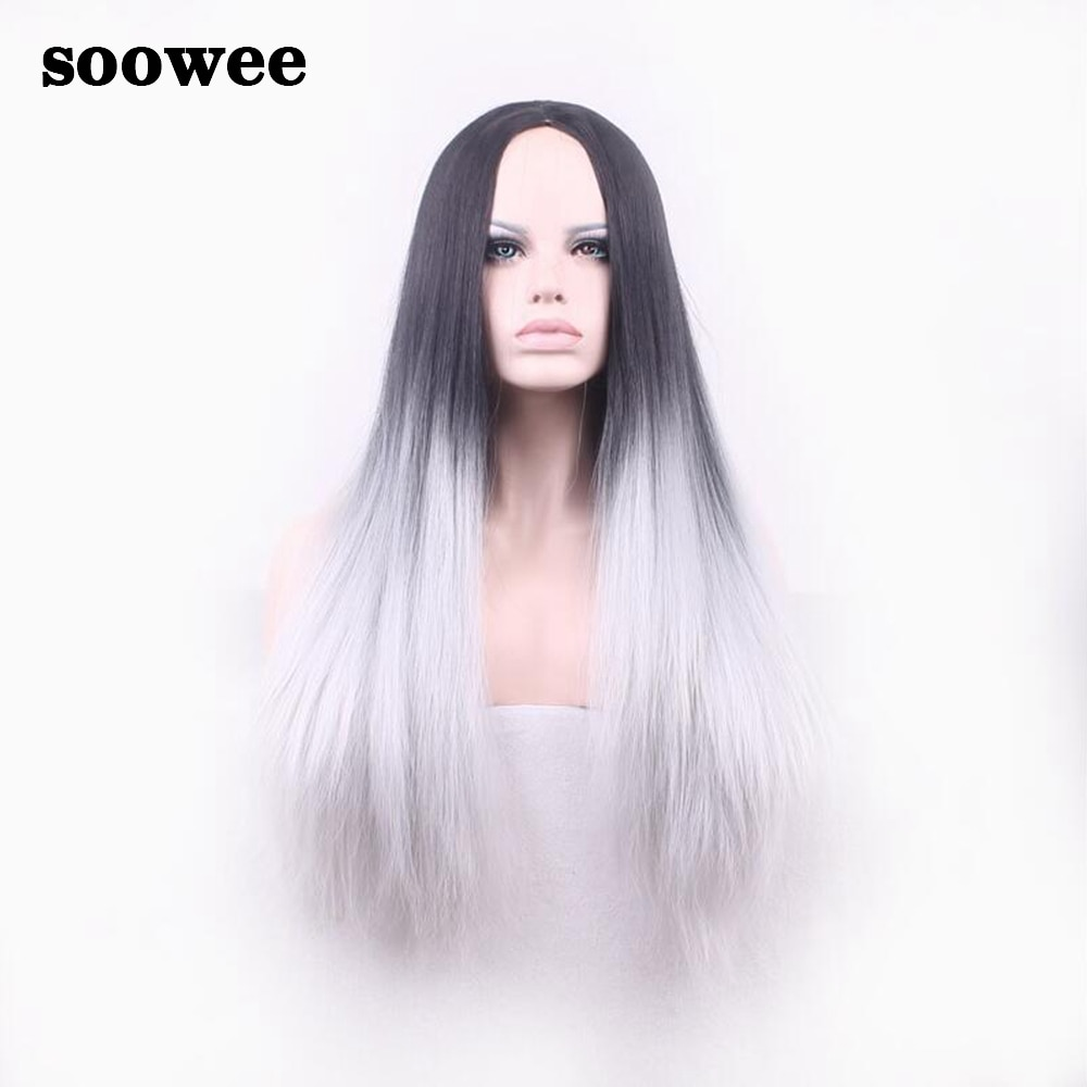 Soowee 70cm Long Straight Synthetic Hair Ombre Wig Wigs-female Black To Gray Omber Hair Cosplay Wigs False Hair for Women