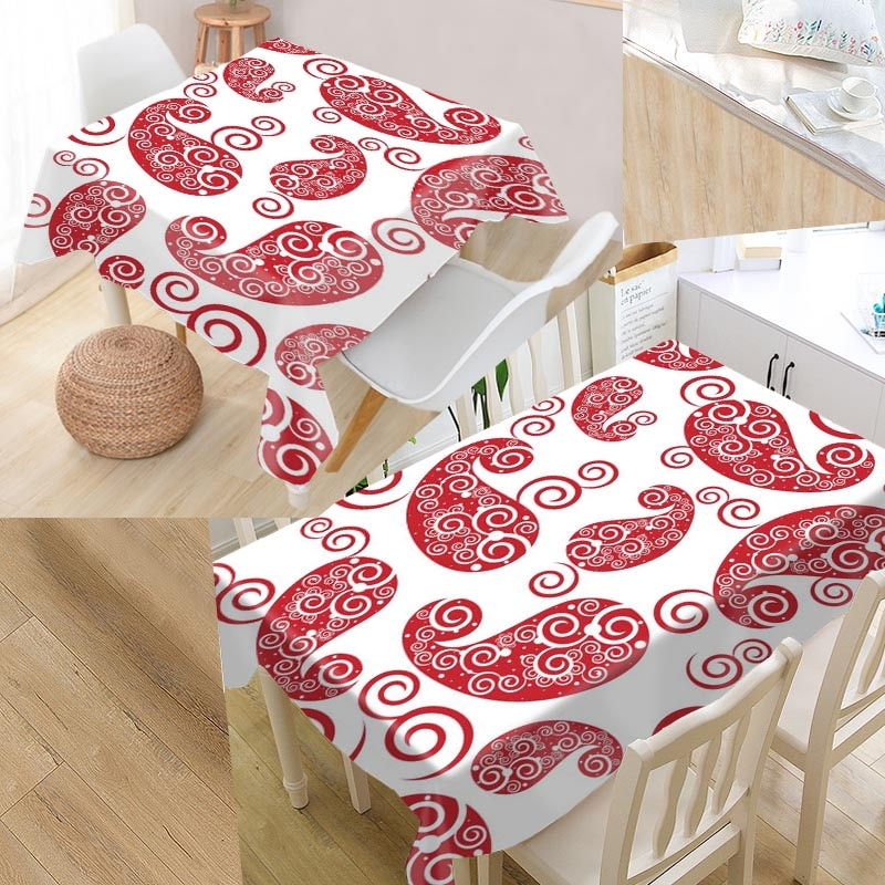 Mantel de mesa personalizado de diseño continuo Paisley tela Oxford Rectangular impermeable a prueba de aceite mantel de fiesta familiar
