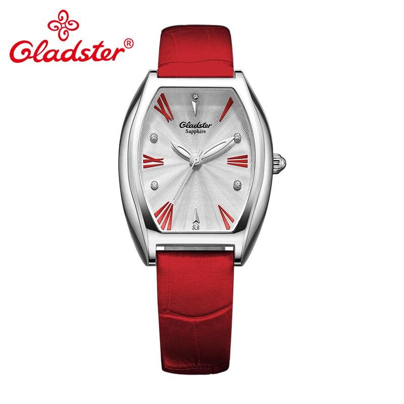 Gladster lujo Japón Miyota GL30 cuero de moda señora cuarzo reloj zafiro cristal mujer reloj único mujer reloj de pulsera