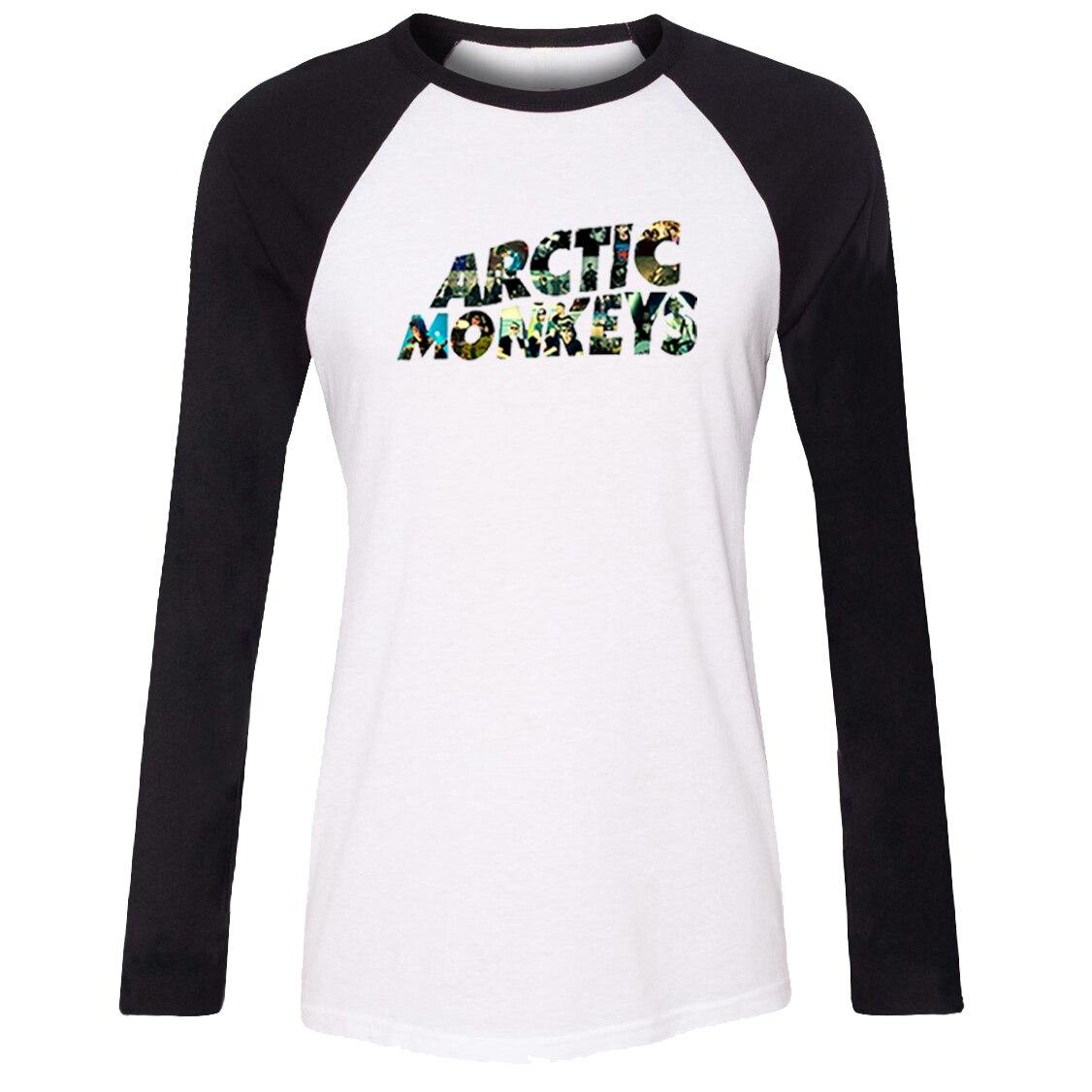 Casusl iDzn Novos das Mulheres Quentes T-shirt Arctic Monkeys Onda Sonora Rock banda Padrão Raglan Manga Longa camiseta da Menina Senhora Camisetas Topos