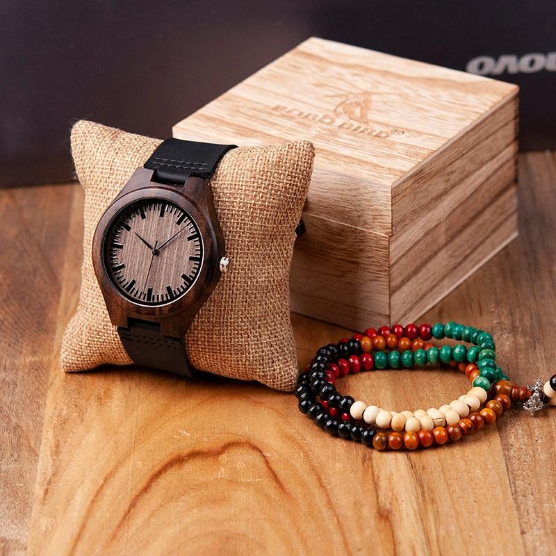 BOBO BIRD Luxury Brand Ebony Wood Watch Customized Gift Quartz Movement Wristwatch for Son Mom Dad Boyfriend Engraved
