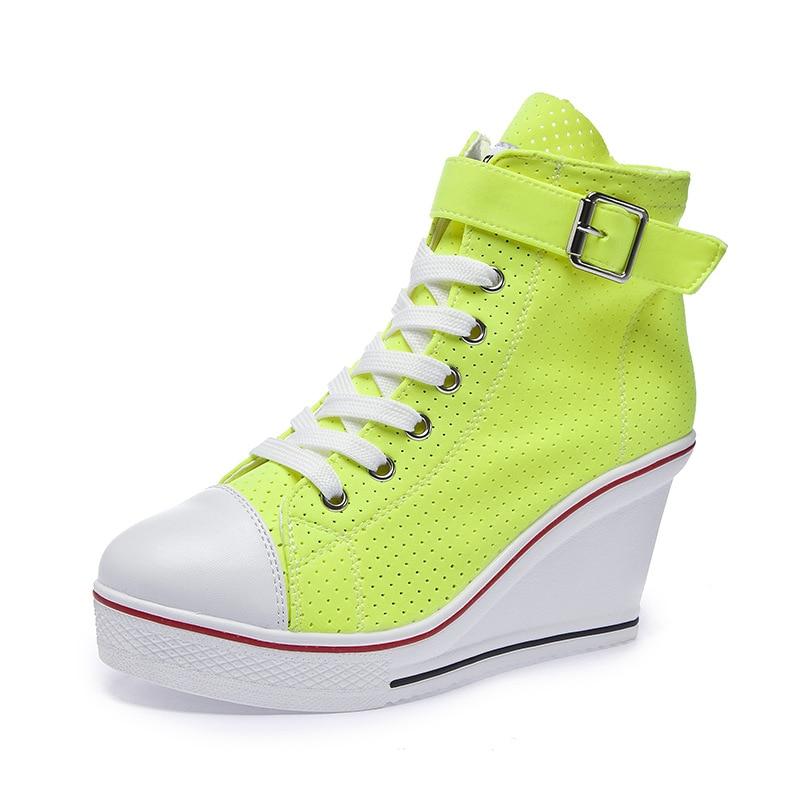2019 Women Neon Yellow Green Pink Fashion Sneakers High Top Buckle Lace Up Platform Casual Shoes Hidden Wedge Heel Shoes Woman