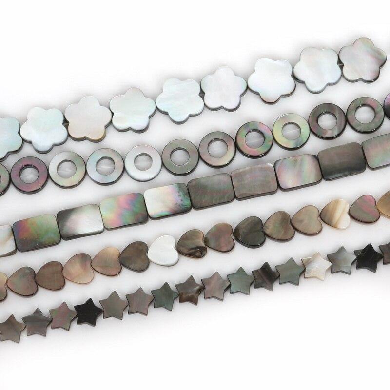 Cuentas sueltas con forma de flor y estrellas en forma de corazón redondo rectangular con concha de mar y labios negros para fabricación de joyas