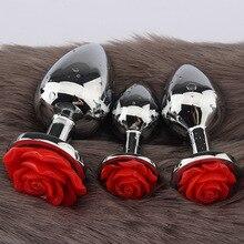 Plug Anal fleur Rose pour hommes et femmes masturbateur Anal produits sexuels pour adultes jouets en acier inoxydable godemichet Anal pour adultes produits sexuels