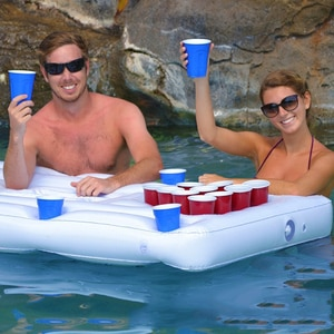 Swimming Float Pool Inflatable Toys 24-hole Inflatable Beer Pong Table With Cooler Inflatable Float Mattress