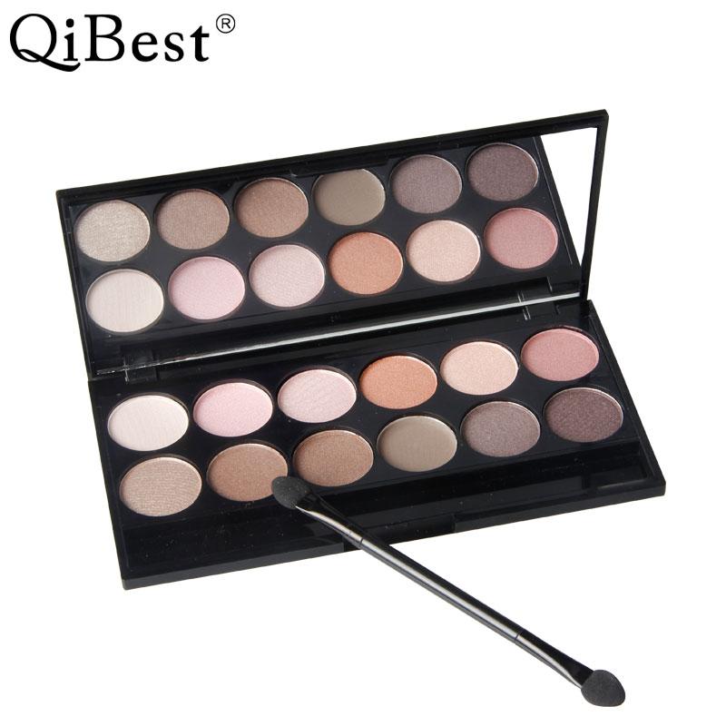 Marca qibest, paleta de sombra de ojos de maquillaje de 12 colores, juego de cosméticos de belleza para ojos mate de Nake cálido Ultra brillante profesional