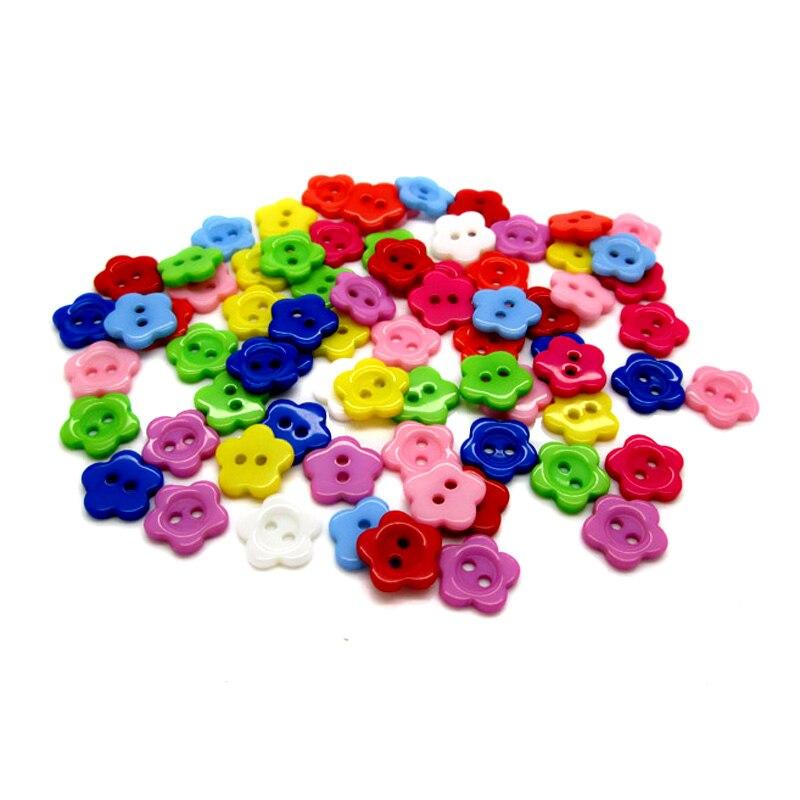 200Pcs Multicolor Resin Flower Shape Apparel Sewing Buttons For Kids Clothes Scrapbooking Decorative Handicraft DIY Accessories