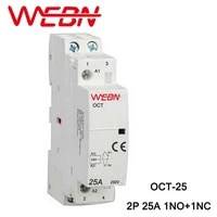 oct series ac household contactor 230v 5060hz 2p 25a 1no1nc one normal open and one normal close contact din rail contactor