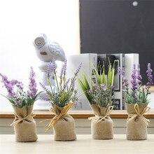 1pcNew Simulation fleur toile de jute plantes réfrigérateur aimants bonsaï faux pot de fleurs bonsaï faux fleur maison hôtel fête décoration Bonsa