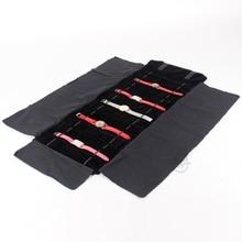 Tout noir velours Portable montre Bracelet bijoux enroulable sac paquet bijoux présentoir pochette pour montre-Bracelet sac de voyage